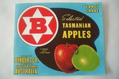 Vintage Apple Box Label Bender  Launceston Tasmania Australia
