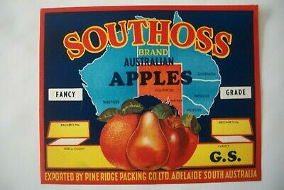 "Vintage Apple Box Label Southoss ""G.S"" South  Australia"