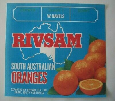 Vintage Apple Box Label Rivsam South Australia Oranges Stamping Boxes Australia