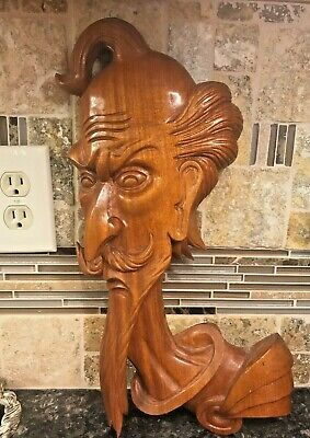 Vintage Don Quixote Wooden Bust Hand Carved Sculpture Figurine Spanish Head 18""