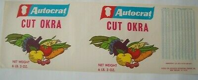 Vintage Long Apple Tin Label Autocrat Cut Okra 6LB 3 OZ USA