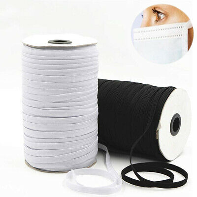 "100/200 Yards Braided Elastic Band Cord Knit Band Sewing DIY 1/4""/6mm Bulk Roll"