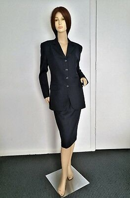 As New Vintage Griffin Size 8 Navy Pinstripe Wool 3 Piece Power Suit