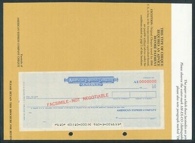 """USA: 1967 American Express SCARCE PAIR """"SPECIMEN"""" FOREIGN REMITTANCE CHEQUES"""