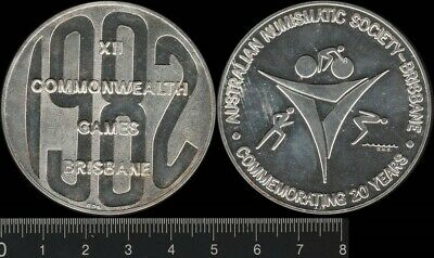 Australia: 1982 XII Commonwealth Games Brisbane silver medal 53.3g numbered 7