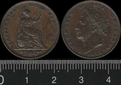 Great Britain: 1829 George IV Farthing. High grade.