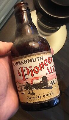 Old Frankenmuth MI Pioneer Ale Paper Label Beer Bottle Geyer Bros Advertising