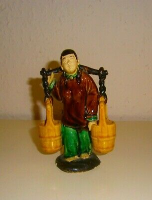 """Vintage Chinese Mud Man Water Carrier 5"""" Tall Figurine"""