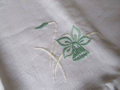 """Antique/Vintage Embroidered Linen Tablecloth""""Approx 51 X52 inch""""Daffodils&Buds"""