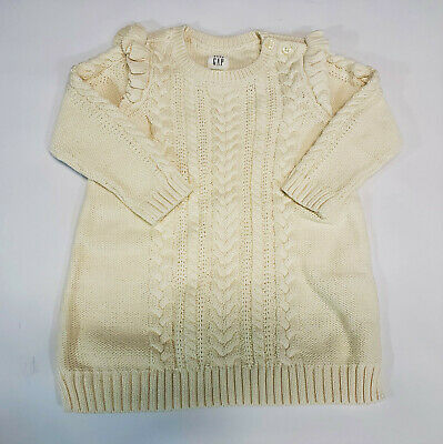 Baby Gap Girls Ivory Cable Knit Ruffle LS Sweater Dress NWT