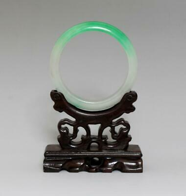 Perfect Rare Chinese Carved Natural Jadeite Bracelet Bangle 6.2Cm (K38)