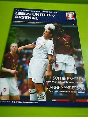 Women's LG Cup final programme. Leeds v Arsenal. 4.3.2007.