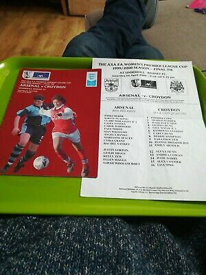 Women's LG Cup final football programme. Arsenal v Croydon & teamsheet. 1.4.2000