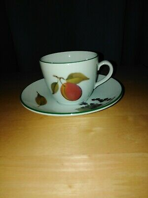 Royal Worcester Evesham Vale Green rim - Small tea / coffee cup & saucer