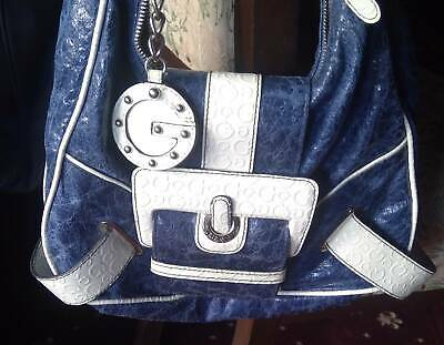 Guess Handbag Excellent Condition - Navy And White