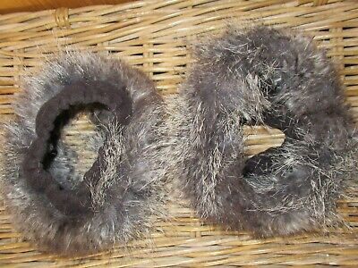 Moore and Moore grey faux fur boot toppers, soft fluffy cuff trims