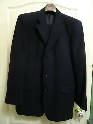 "Mens 2-piece navy blue suit, Wool, Marks & Spencer, size 42"" chest, 34"" waist"