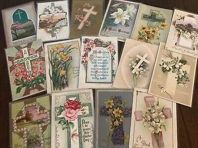 "LOT of 15 BEAUTIFUL Antique~"" EASTER CROSSES"" with Flowers CROSS POSTCARDS-p669"