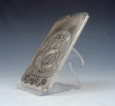 Tibetan Silver Paperweight Pendant Seated Laughing Buddha Mi-Le 4.8OZ #04062002