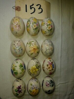 12 of The Egg Lady Hand Painted Flower Porcelain Eggs(153)