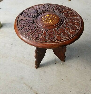 India wood 1 foot tall small accent corner 1990's hand carved stool removal legs