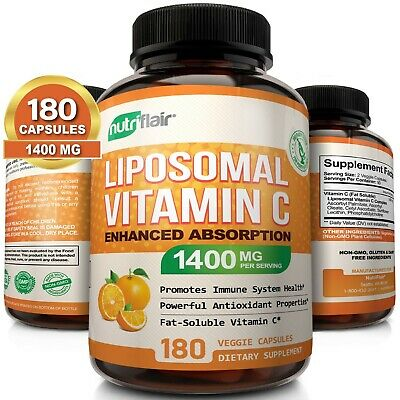 Liposomal Vitamin C 1400Mg High Absorption Support Healthy Immune System NON-GMO