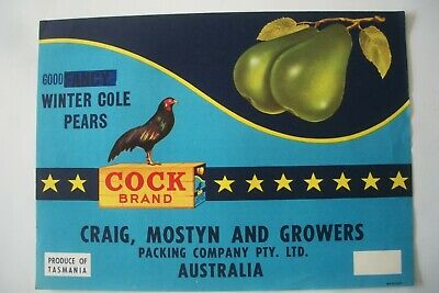 Vintage Apple Box Label Pear Cock Winter Cole Fancy B/O O/P Good Tasmania Aust