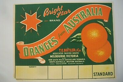 Vintage Apple Box Label Bright Star Oranges Butler Victoria Australia