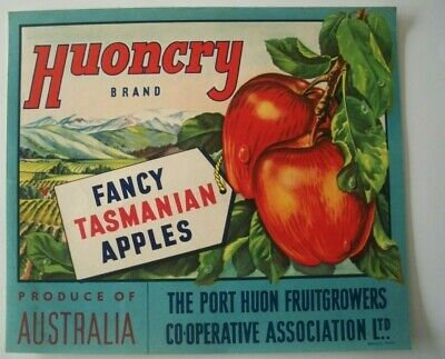Vintage Apple Box Label Huon Cry Port Huon Tasmania Australia