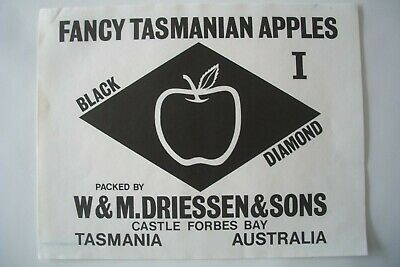 Vintage Apple Box Label Black Diamond Driessen Castle Forbes Tasmania Australia