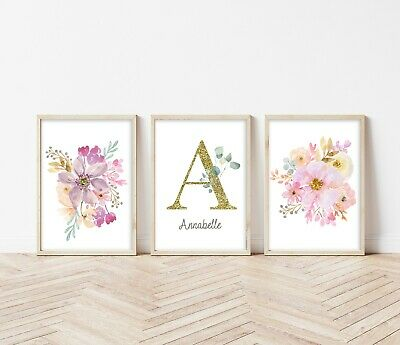 3 Flower Floral Bouquet Personalised Prints Nursery Girls Room Wall Art Pictures