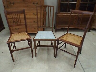 Three Antique Edwardian Mahogany & Inlaid Bedroom Side Chairs