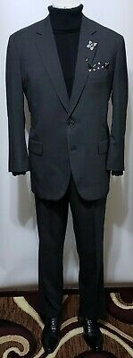 Brooks Brothers Brookease mens gray hopsack 2-pc 100% wool 2-Btn jacket suit 46R