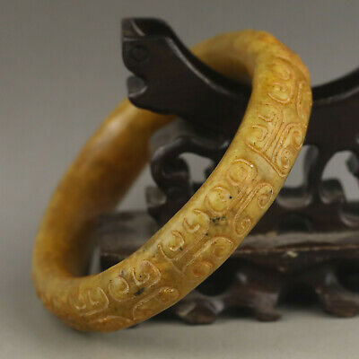 China old natural jade bracelet hand carved flower bangle