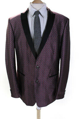 Tallia Mens Printed Long Sleeve Two Button Blazer Red Black Size 46L