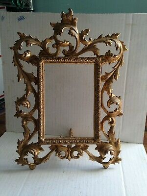 """Antique Art Nouveau Gilded Metal Picture Frame Stand Up~Holds 4x6"""""""
