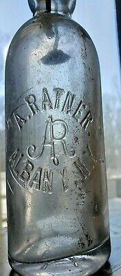 Antique Embossed Glass Blob Top Apothecary Bottle A. Ratner Albany NY Rare-28!