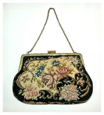 VINTAGE  Antique FLORAL PETIT POINT NEEDLEPOINT Tapestry HANDBAG PURSE As Is