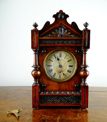 Antique Musical Alarm Mantel Clock 8 Day Daisy Bell Movement by Junghans Germany