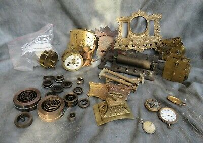 A Selection Of Clock Parts,Music Box Bed,Main Springs And Case Parts