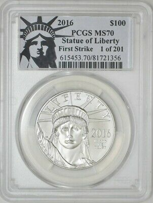 2016 $100 Statue of Liberty Platinum Eagle First Strike MS70 PCGS 942911-3