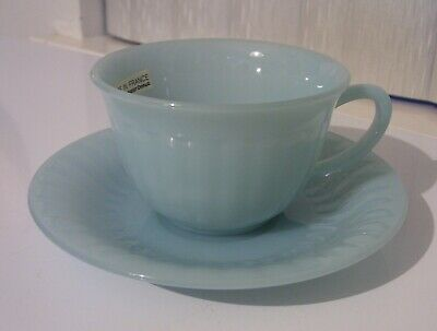 Turquoise Blue Mister Donut Promo Advertising Cup Saucer Arcopal France