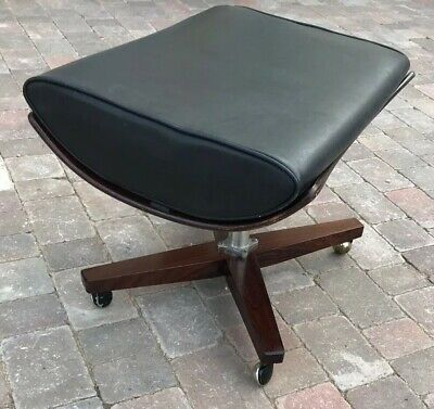 Fab Vintage Retro Wooden And Faux Leather Curved Footstool/Stool On Castors