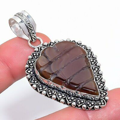 Carved Brown Onyx Gemstone 925 Sterling Silver Jewelry Pendant 2.3 2604