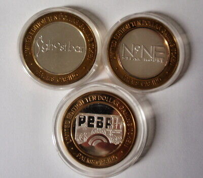 Palms Hotel Casino Las Vegas Set of 3 - $10 Silver Strikes, Gaming Tokens UNC