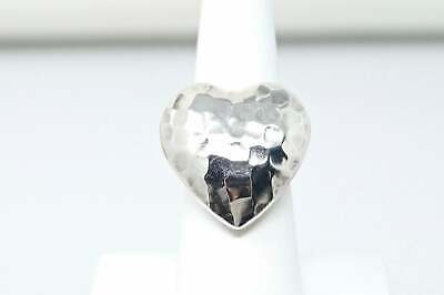 Beautiful Vintage Large Hammered Heart Sterling Silver Statement Ring - Size 6.5