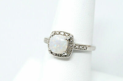 Beautiful Vintage Large Opal Diamond Accented Sterling Silver Ring - Size 7