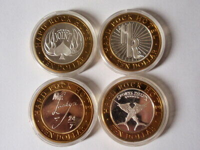 Hard Rock Hotel Casino Las Vegas Set of 4-$10 Silver Strikes, Gaming Tokens UNC