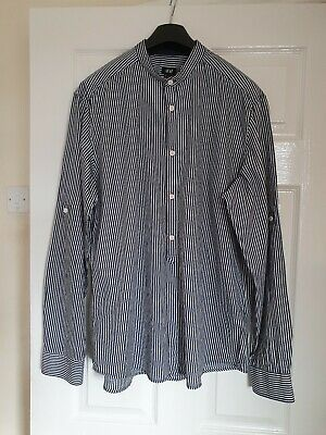 Mens H & M Navy Blue/White Striped Shirt (Long Or 3/4  Sleeves) Large