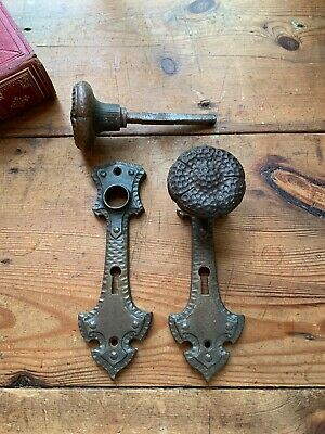 Pr Antique Cast Iron Hammered Door Knobs With Plates